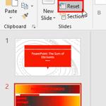 Reset Slide in PowerPoint 2016 for Windows
