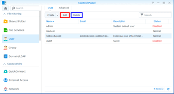 Edit and Delete Users on the Synology DS920+