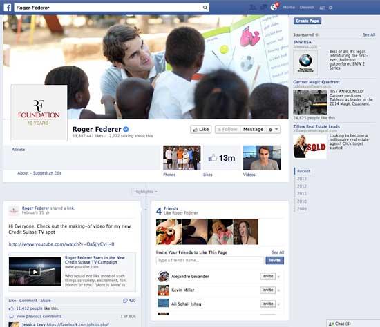 Roger Federer's Facebook page