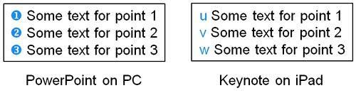 Winding Symbols on PC/PowerPoint versus iPad/Keynote