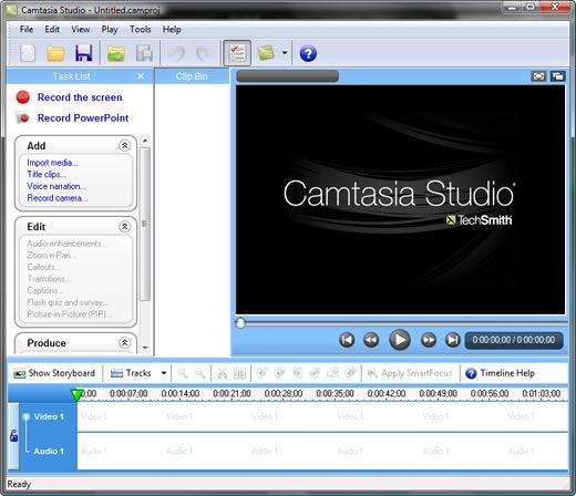 Camtasia Studio 6 interface