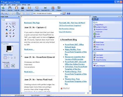SnagIt Capture Preview window
