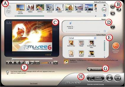muvee autoProducer 6 Interface