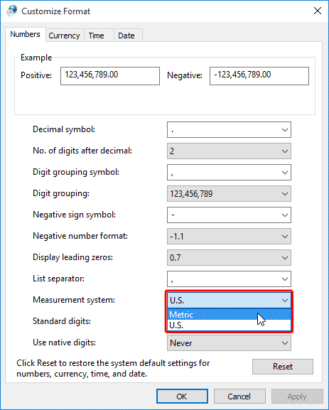 Customize Format dialog box
