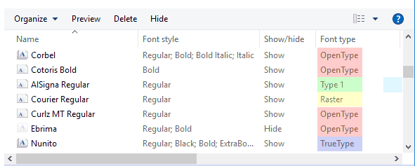 Different font types
