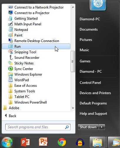 Run in Windows 7