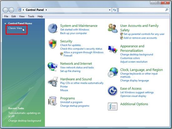 Control Panel's Category view in Windows Vista