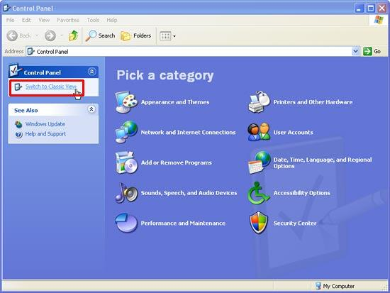 Control Panel's Category view in Windows XP