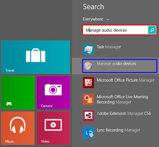 Manage audio devices typed within the search box in Windows 8