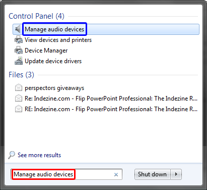 Manage audio devices typed with the search box in Windows 7