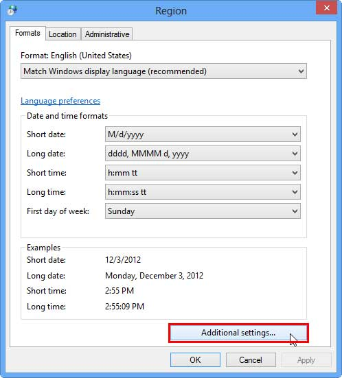Additional settings button within Region dialog box