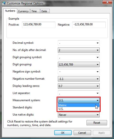Metric measurement system selected within Customize Regional Options dialog box