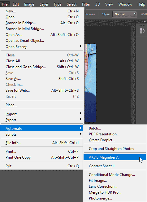 AKVIS Magnifier plug-in within the File menu