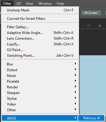 AKVIS Refocus plug-in within the Filter menu