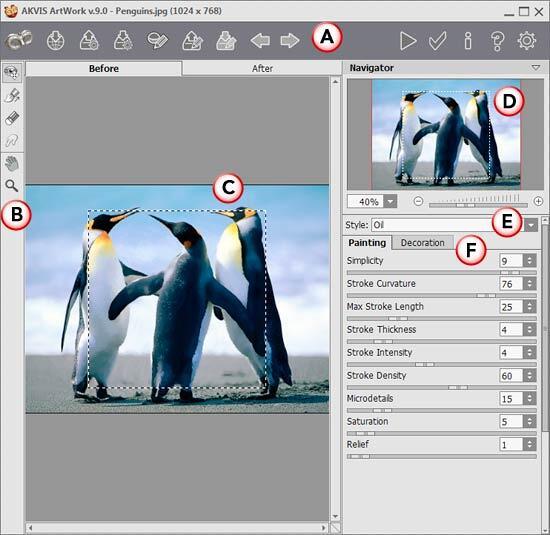 AKVIS ArtWork 9 interface