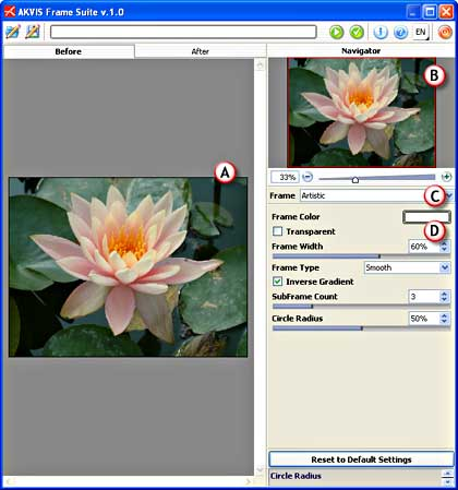 AKVIS Frame Suite Interface