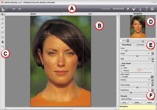 AKVIS MakeUp interface