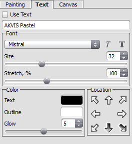 Text tab within the Settings Panel