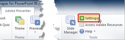 Settings button within the Presentation group