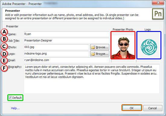 Presenter dialog box
