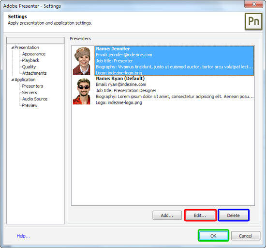 Presenter(s) listed within the Settings dialog box