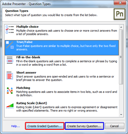 Question Types dialog box