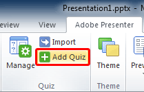 Add Quiz button within the Quiz group