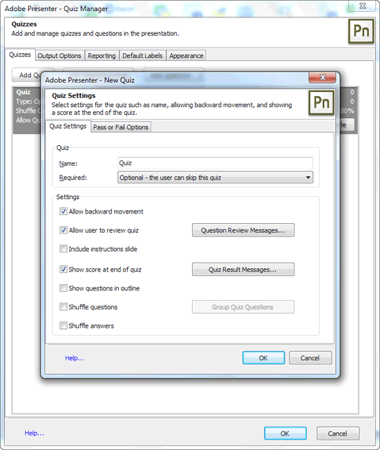 Quiz Manager and New Quiz dialog boxes