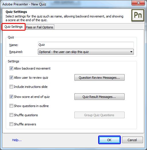 Quiz Settings tab within the New Quiz dialog box