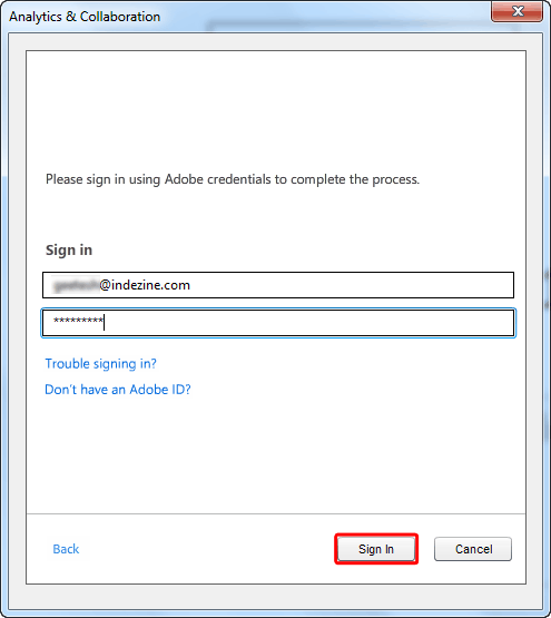 Sign in by entering your Adobe ID