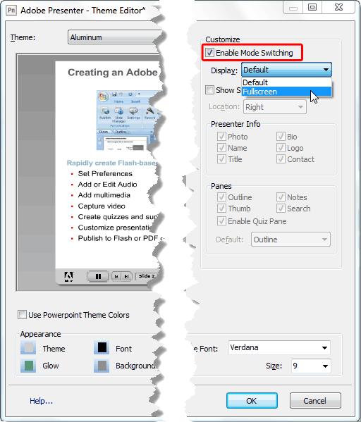 Fullscreen option selected