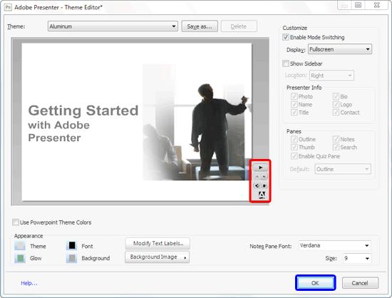 Adobe Presenter player customized