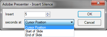 Insert Silence dialog box