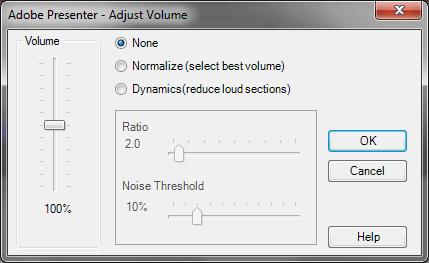 Adjust Volume dialog box