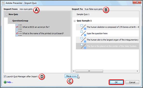 Import Quiz dialog box