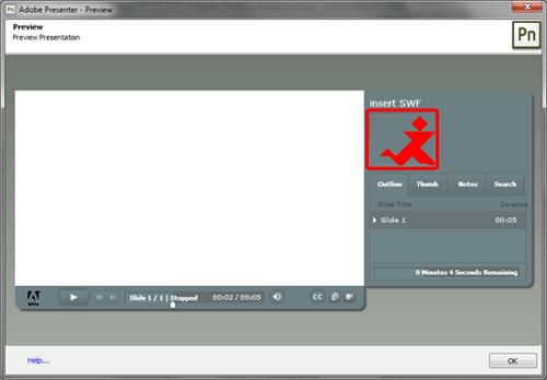 Sidebar animation in the Adobe Presenter player