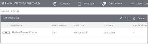 Course Settings page
