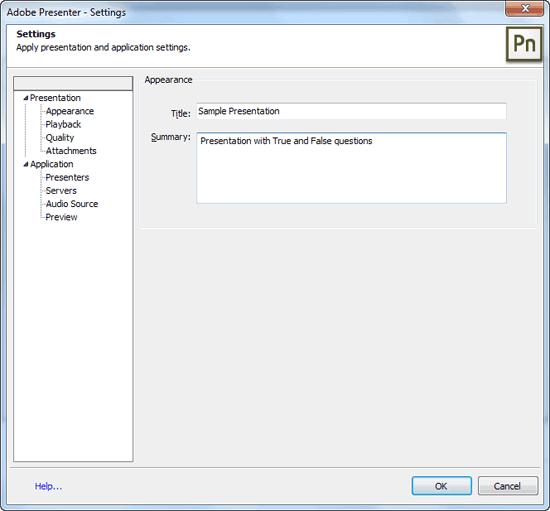 Settings dialog box