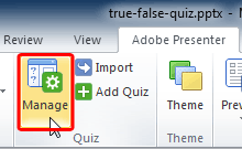 Manage button within the Quiz group