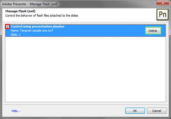 Manage Flash (swf) dialog box