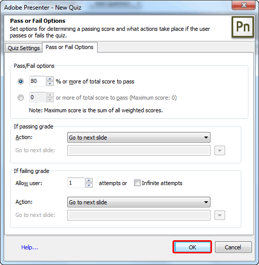 Pass Or Fail Options tab within the New Quiz dialog box