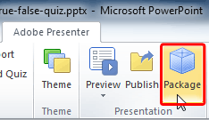 Package button within the Presentation group