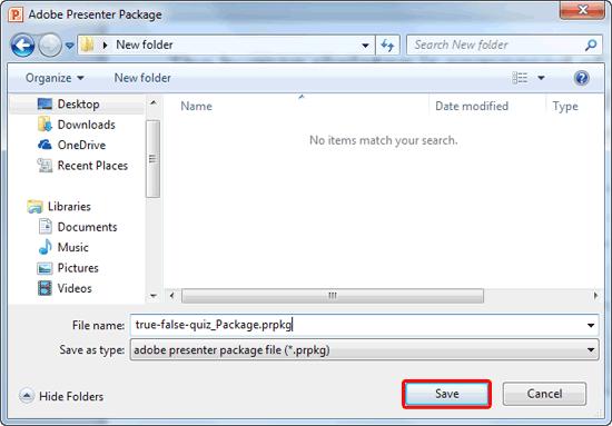 Adobe Presenter Package dialog box