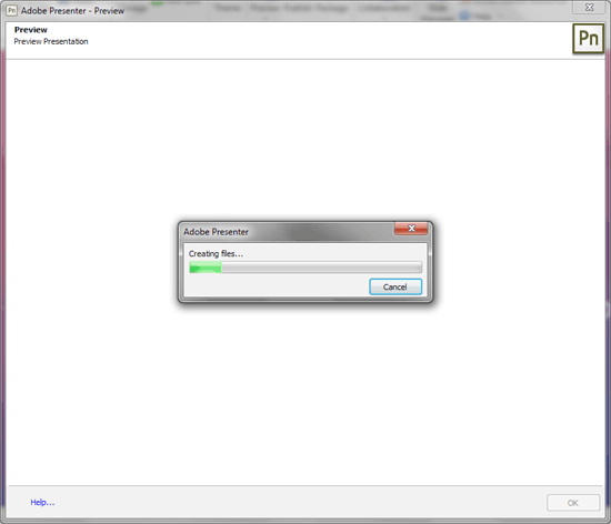 Adobe Presenter - Preview window