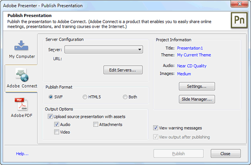 Adobe Connect tab within Publish Presentation dialog box