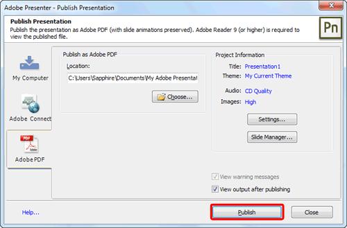 Adobe PDF tab within Publish Presentation dialog box