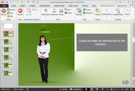 Scenario interaction slides added within PowerPoint