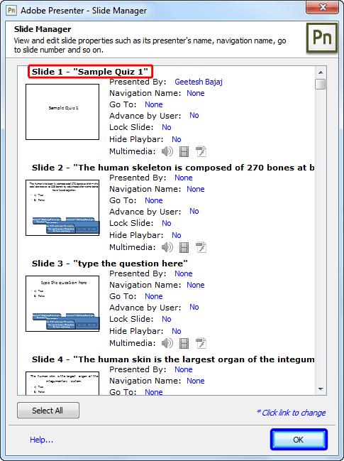 Slide Manager dialog box