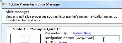 Navigation Name text box