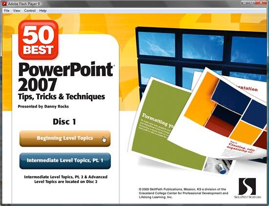 50 Best PowerPoint 2007 Tips, Tricks, & Techniques DVD interface
